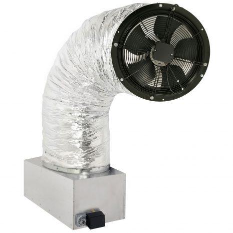 whole house fan mounted on damper box