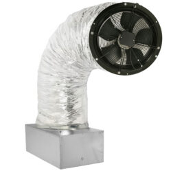 A photo of a CentricAir 1.5 whole house fan on its damper box