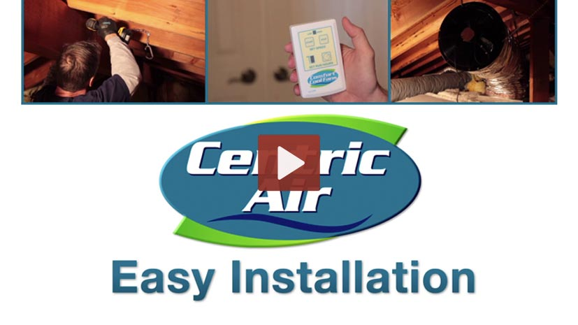 A freeze-frame of our video showing how a Centric Air Whole House Fan is installed.