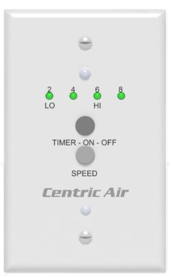 A Photo of the new CentricAir 2-Speed Wall Switch with timer.